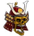 cartoon golden skull in japanese samurai helmet vector image