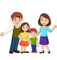 cartoon happy family on white background vector image