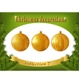 Christmas decorations Collection of gold glass vector image vector image