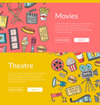 cinema doodle icons banners vector image vector image