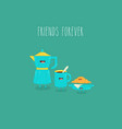 coffee pot blue cup plate with croissant friends vector image