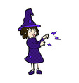 comic cartoon witch casting spell vector image vector image