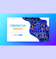 contact us neon landing page vector image