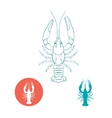 Crayfish silhouette and flat icon vector image vector image