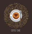 cup of coffee top view flat vector image vector image