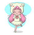 cute little girl dressed as a cat vector image vector image