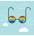 Glasses in the sky with rainbow LGBT concept vector image vector image
