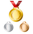 gold silver and bronze medals for winners with vector image vector image