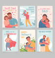happy father day gift cards with fathers and kids vector image vector image