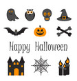happy halloween icon set of symbols vector image vector image