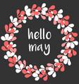 hello may watercolor wreath card on black vector image