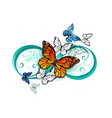 infinity with an orange butterfly vector image vector image