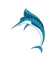 Jumping blue marlin fish character vector image vector image
