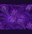 jungle neon ultra violet leaves of tropical palm vector image vector image