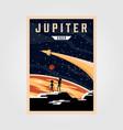 jupiter poster background space vintage poster vector image vector image