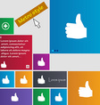 Like Thumb up icon sign Metro style buttons Modern vector image vector image