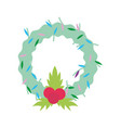 merry christmas celebration floral wreath bow vector image vector image