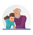 old father supporting sad daughter flat vector image