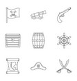 pirates adventure icon set outline style vector image