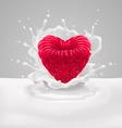 Raspberry heart with milk vector image vector image