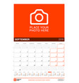 september 2019 wall calendar for 2019 year design vector image vector image