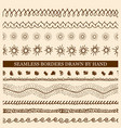 set of hand drawn seamless borders vector image