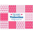 Set of seamless pixel art heart patterns vector image vector image