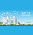 smart city on urban landscape with different icons vector image vector image