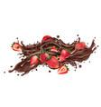 splash liquid chocolate and fresh strawberries vector image vector image