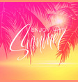 summer lettering poster with palm trees background vector image