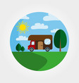 trailer house on wheels logotype recreation in vector image