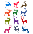 Twelve colored deer silhouettes vector image vector image