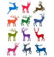 Twelve colored deer silhouettes vector image
