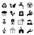 Universal ecology black icons set vector image