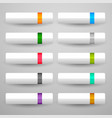 white buttons set in ten shiny colors vector image vector image
