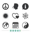 world globe icon ying yang sign hearts love vector image