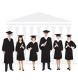 Young guys and girls graduates standing in front vector image vector image