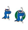 Cartoon owl mascot playing golf vector image