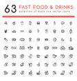 63 fast food black icons set vector image vector image
