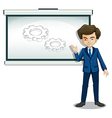 A man explaining the image in the whiteboard vector image