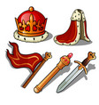 attributes king crown mantle banner vector image