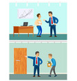 bad job and dismissal angry boss and employee vector image vector image