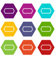 bicycle chain icon set color hexahedron vector image vector image