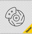 black line car brake disk with caliper icon vector image vector image