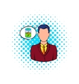 Businessman and cloud with battery low icon vector image vector image