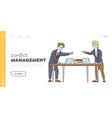 businessmen quarrel and fight landing page vector image vector image