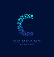 c letter logo science technology connected dots vector image vector image