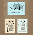 christmas greeting cards with doodle animals vector image vector image