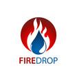 circle fire water drop logo concept design symbol vector image