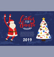 cookies santa greeting card 2019 new year holiday vector image vector image